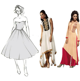 CIRCLE STYLE OF DRESS: - free flowing fabric stitched in half circle shape to create circular shape at floor level.