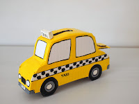 cardboard taxi cab bank for kids!