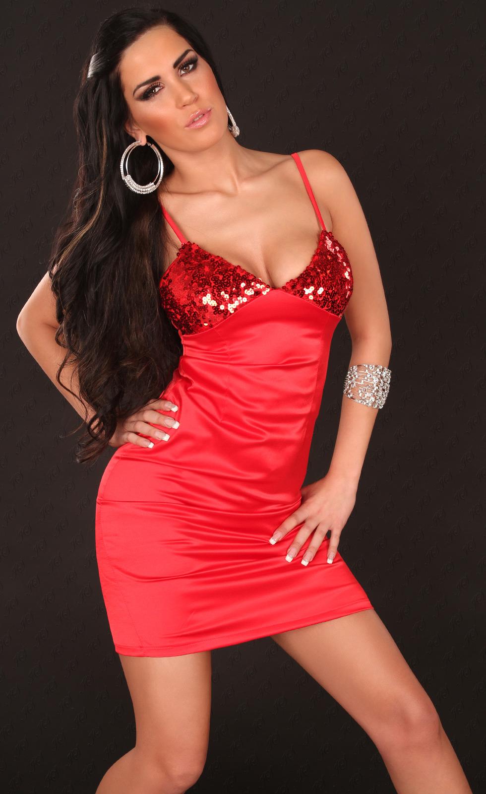 abito da sera corto scollato raso rosso corpetto paillettes d53123327384