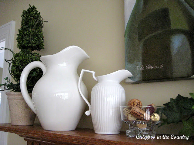 White Pitchers and greens for spring