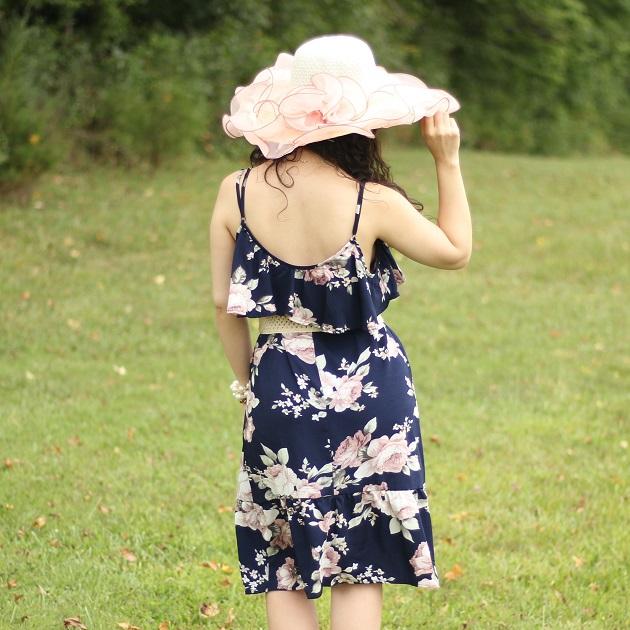 Blue Floral Cold Shoulder Dress