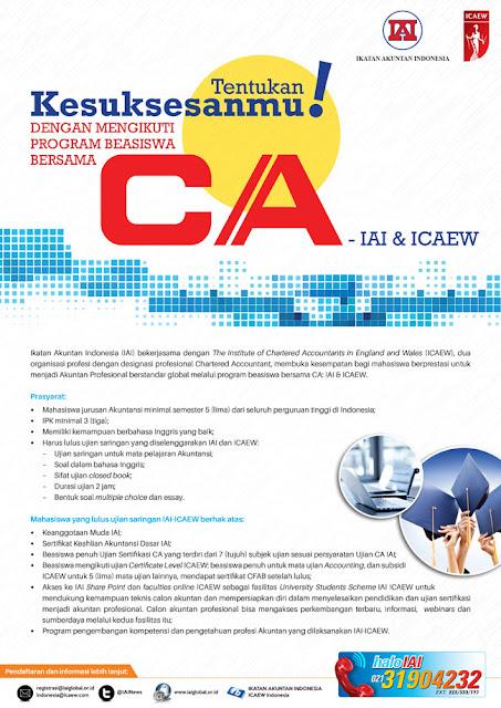 Beasiswa CA-IAI dan ICAEW (Terbuka untuk PTN dan PTS di Seluruh Indonesia)