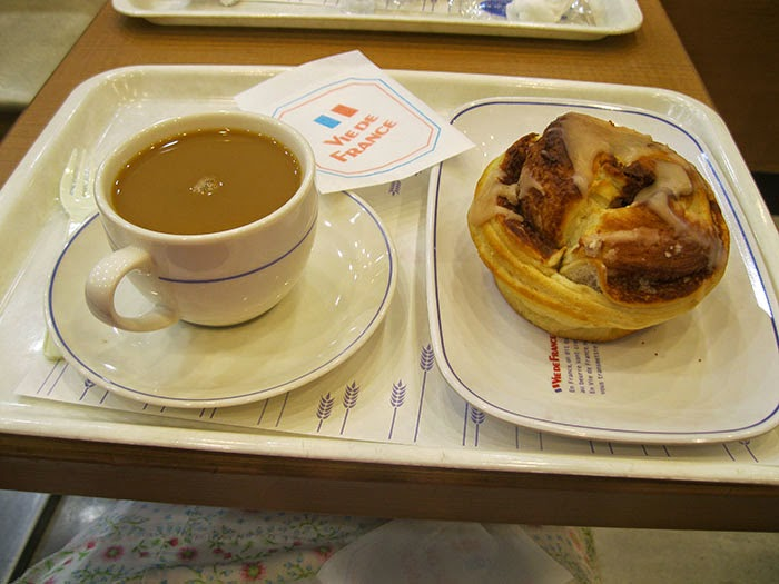 Vie de France cafe for hot coffee and a sweet roll.