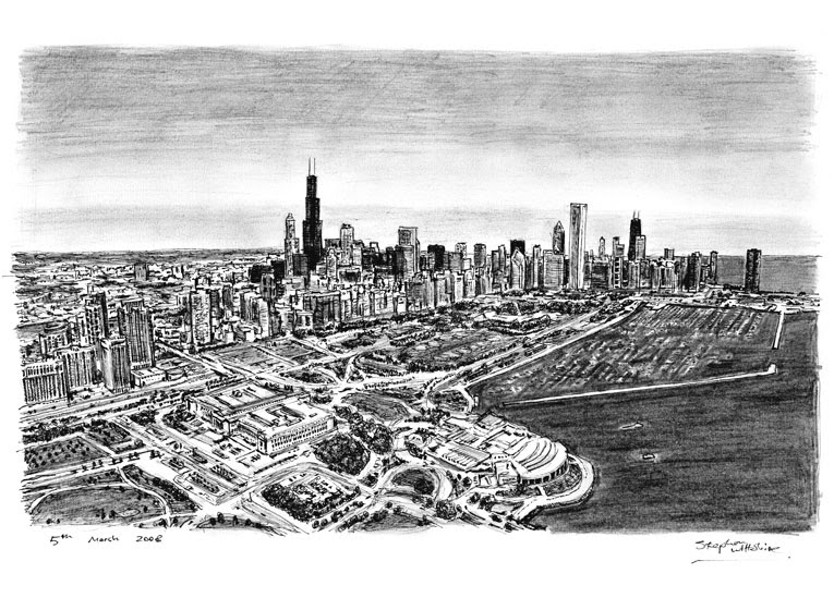 05-Aerial-view-of-Chicago-Stephen-Wiltshire-Urban-Drawings-from-Memory-with-Detailed-Cityscapes-www-designstack-co