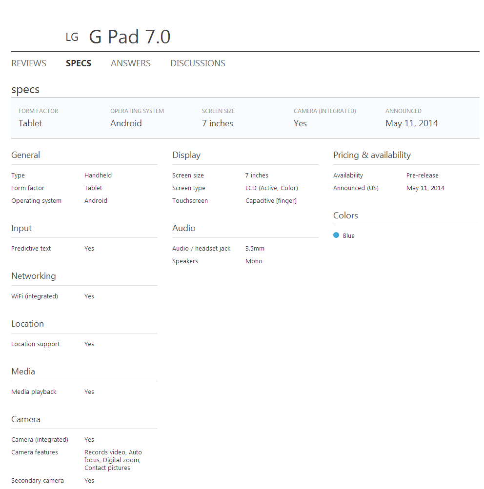 LG G Pad 7.0 Specification