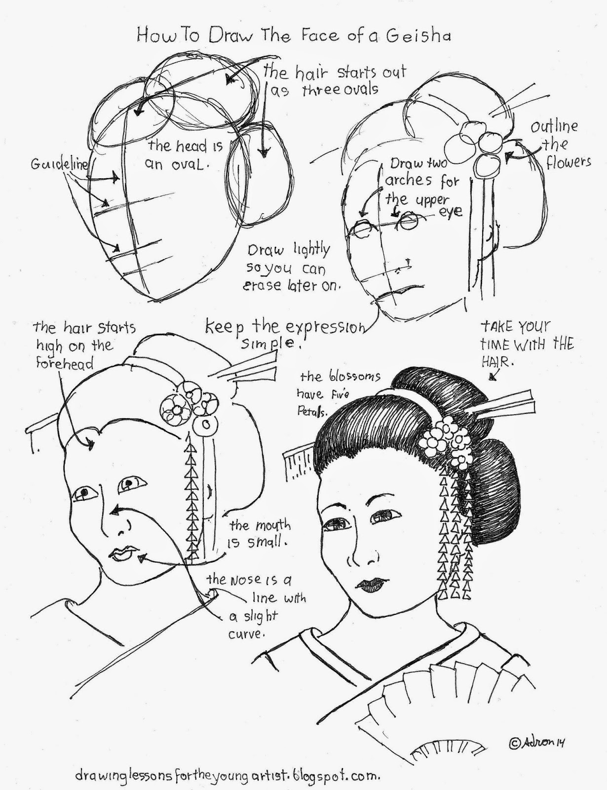 How To Draw Worksheets For The Young Artist How To Draw The Face Of A Geisha Free How To Draw