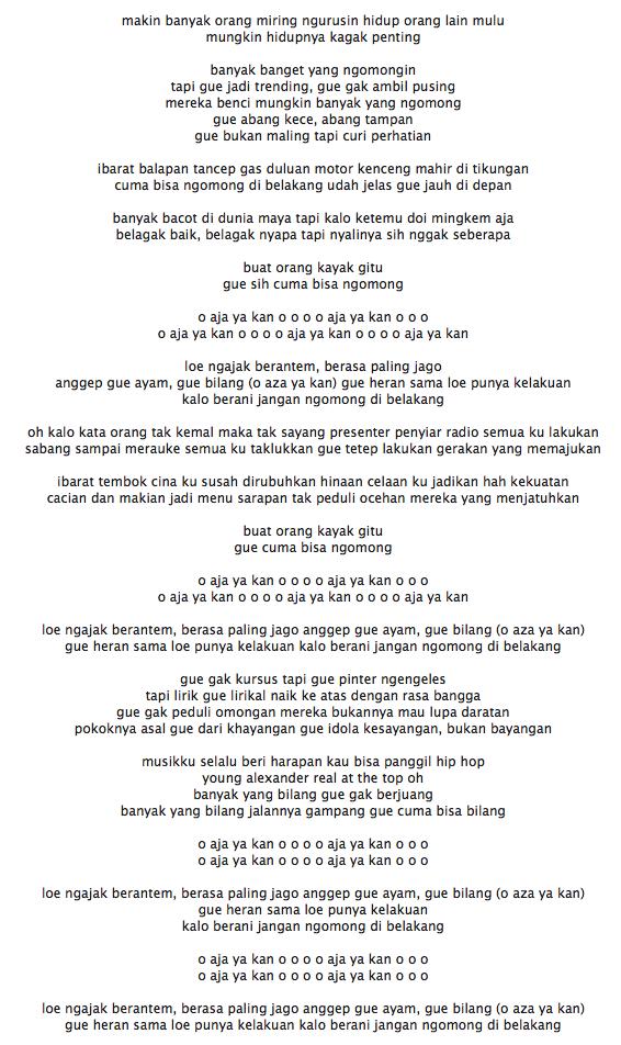 Lirik Lagu Young Lex O Aja Ya Kan