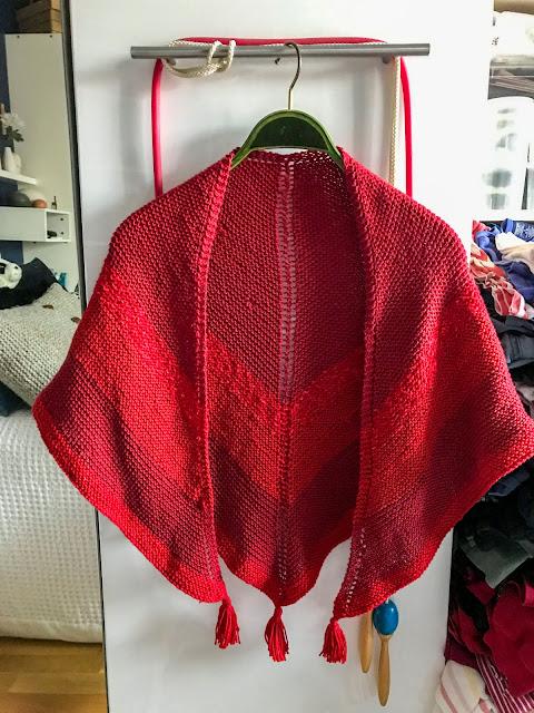 stickning, röd sjal, sjal, bomullsgarn