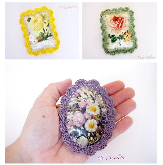 Spring bouquet flowers brooch with edging lace handmade by Chez Violette - http://chezviolette.etsy.com