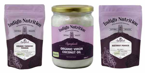 Organic turmeric, beetroot powder and coconut oil from Indigo Herbs