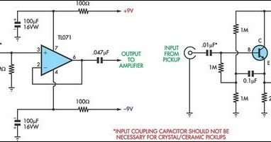 9v battery diagram wiring for preamp stage ceramic phono cartridge or violin pickups | circuits-projects