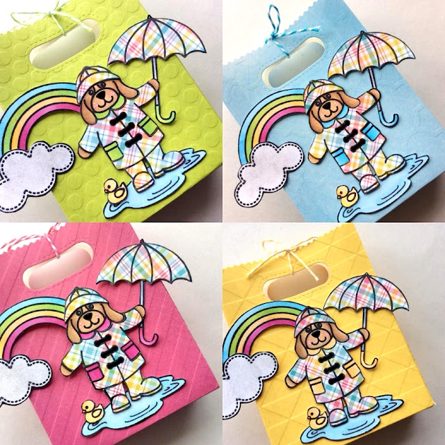 Sunny Studio: Rain or Shine Gift Bags by Ashley @sparklycanadiancraftygirl