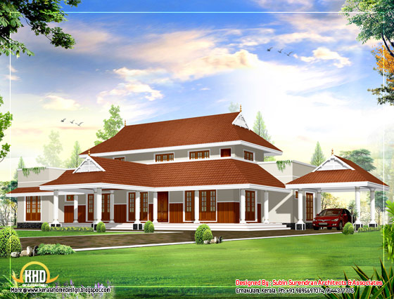 Beautiful sloping roof house design plan - 2983 Sq. Ft.(277 Sq. M. )(331 Square Yards) - March 2012