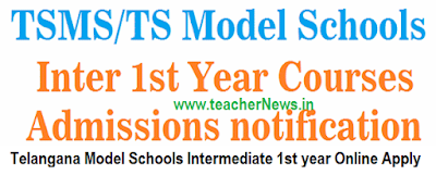 TS Model School Inter Online Apply Admission Notification 2017 telanganams.cgg.gov.in