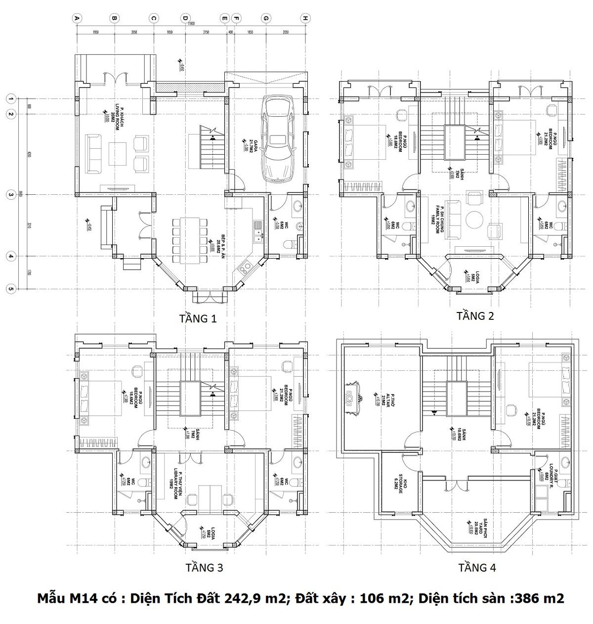 Mẫu thiết kế căn Shophouse M14