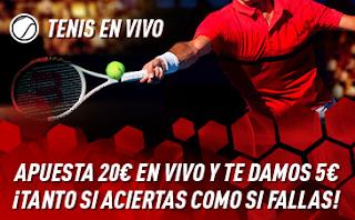 sportium Promo Tenis En Vivo: Por cada 20€ ¡Te damos 5€! 6-12 mayo