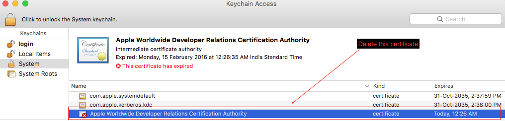 This certificate has an invalid issuer Apple Push Services
