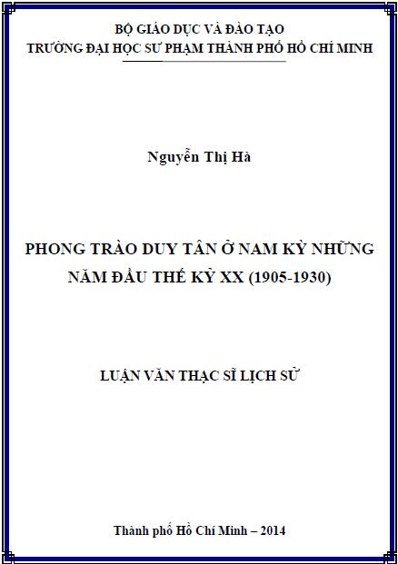 Phong trào Duy Tân ở Nam Kỳ những năm đầu thế kỉ XX (1905-1930)