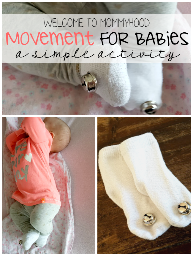 Movement for Babies: jingle socks by Welcome to Mommyhood #montessori, #movement, #babies, #montessoribabies #montessoribaby