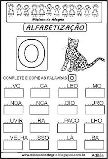 Atividades de alfabetização letra O