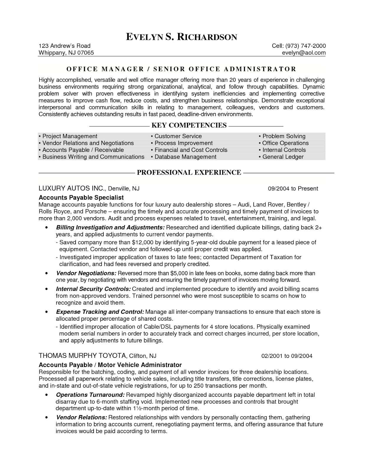 office admin resume samples
