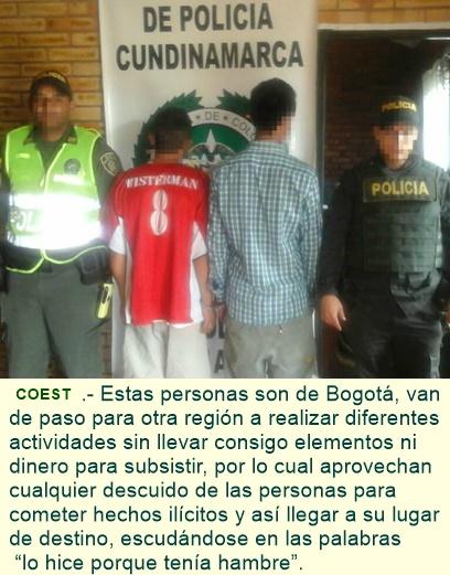 Capturadas tres personas en Chinauta - Fusagasugá - por el delito de hurto.