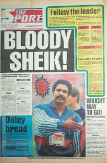 Back page of the Daily Sport UK tabloid newpaper from 28th September 1988