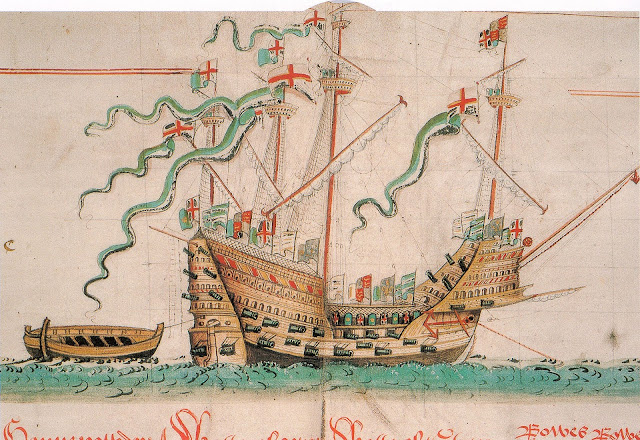Illustration of The Mary Rose battleship as depicted in the Anthony Roll of Henry VIII's Navy. Situation Normal, and other stories of The Better Defense. marchmatron.com