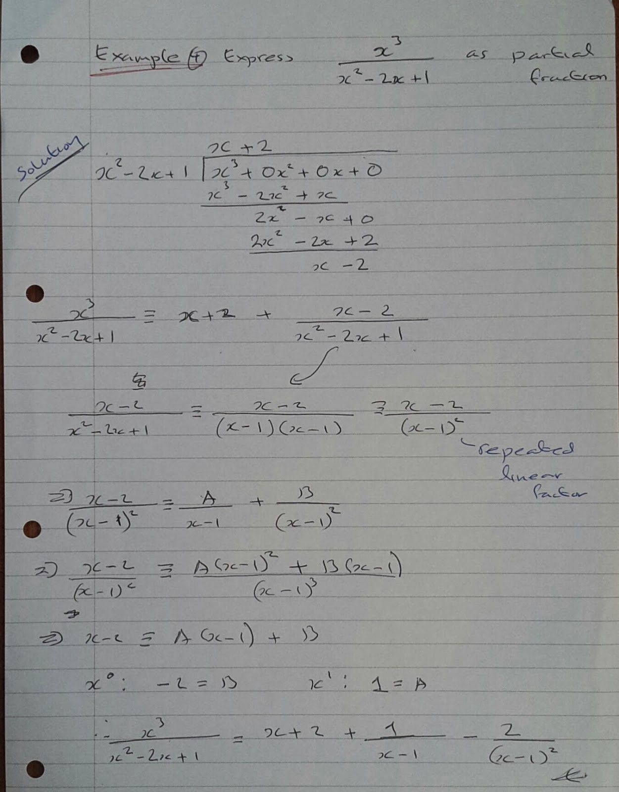 A Level Maths Notes: A2 Partial Fractions: Improper fractions