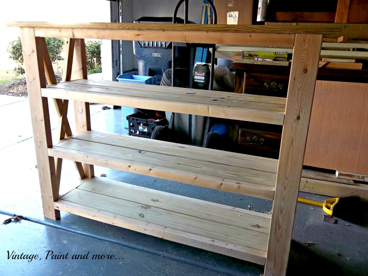 Vintage, Paint and more... rustic x shelf unit diy'd with Ana Whites plans