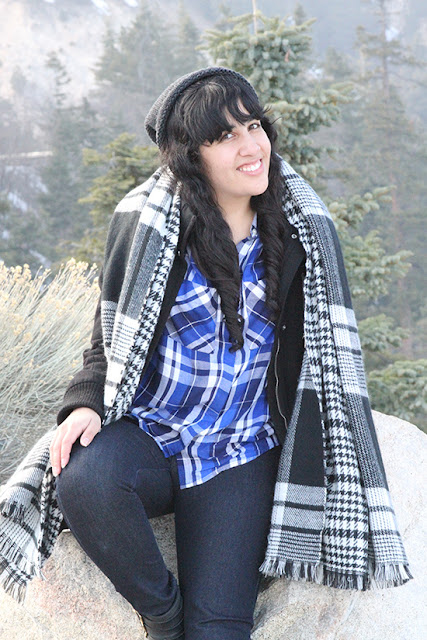 Express Coat and Blue Plaid Button Down Winter Mountain Cabin Outfit Inspiration