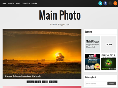 Main Photo Responsive Blogger Template