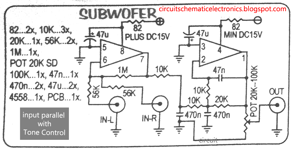 subwoofer module amplifier using 4558 with pcb electronic circuit rh elcircuit com subwoofer circuit diagram using tda2030 subwoofer circuit diagram 100w