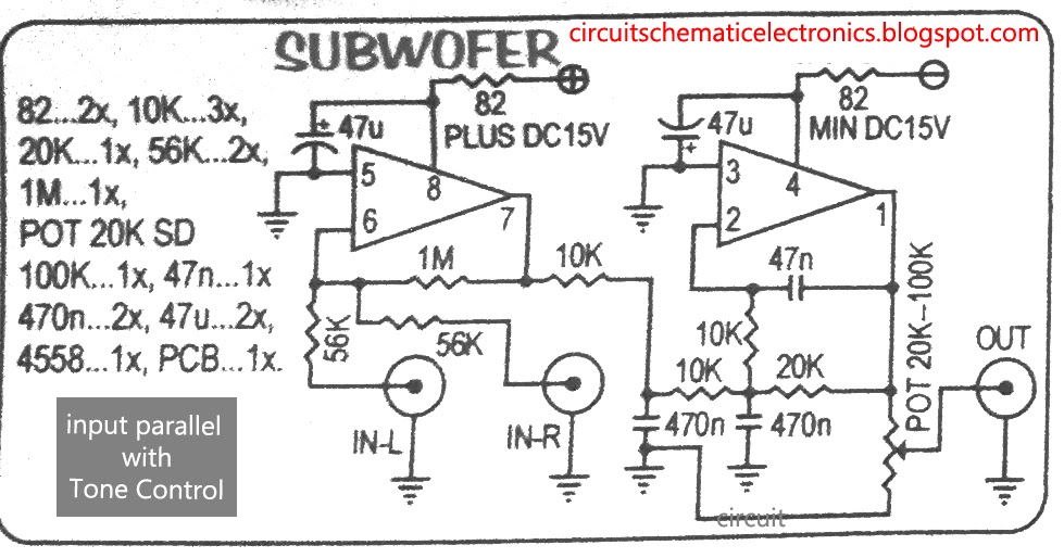 Circuit Diagram Of Ic Ka 4558 As A Line Amp In Audio Amp