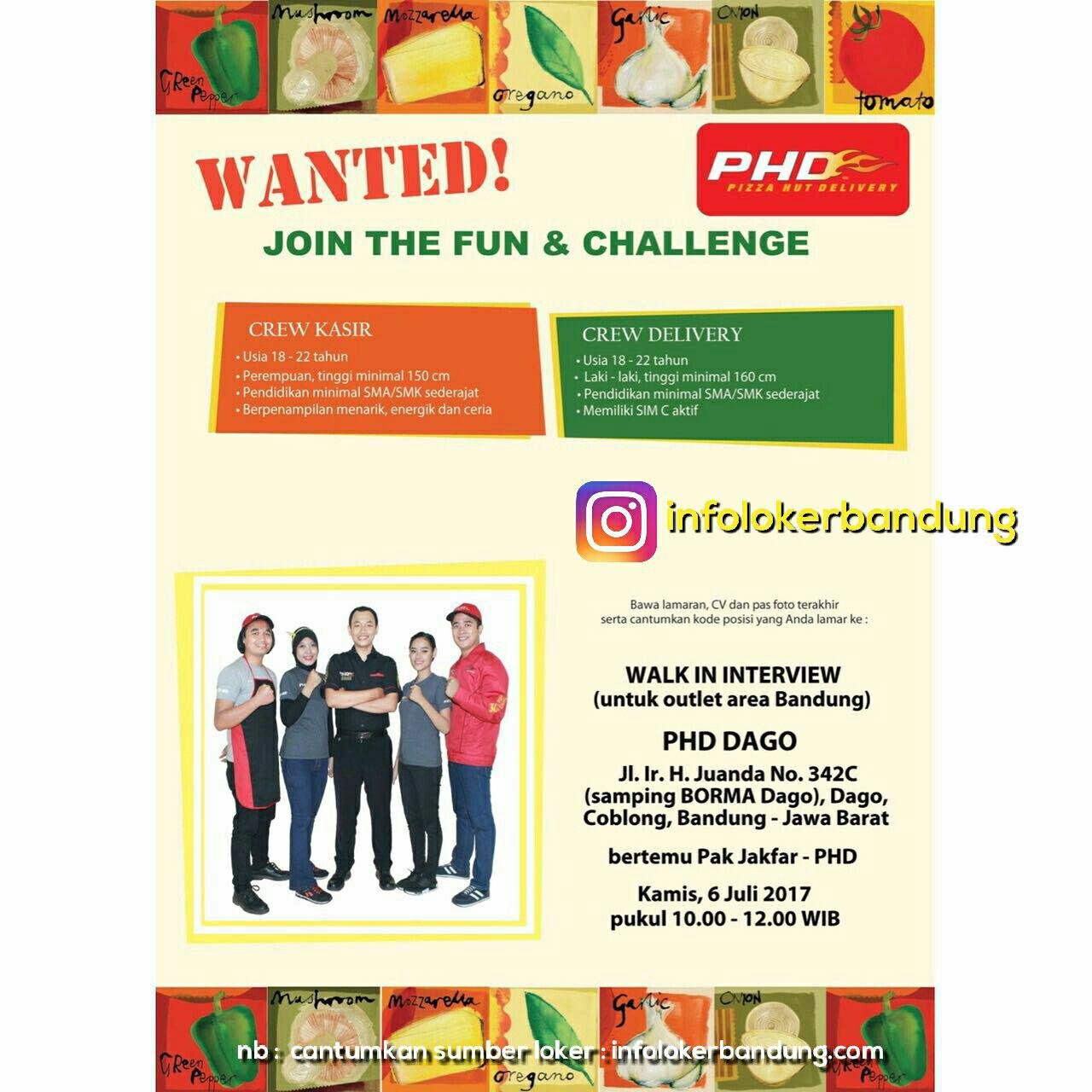 Walk In Interview Pizza Hut Delivery ( PHD ) Dago Bandung Juli 2017