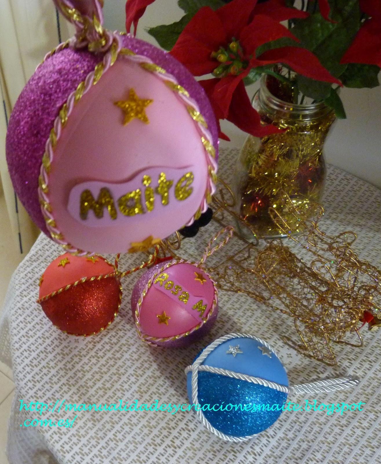 Fofuchas manualidades y creaciones maite bolas navidad - Manualidades con bolas de navidad ...