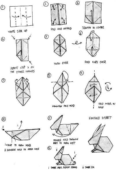 origami instructions rabbit 3d make easy art and craft ideas. Black Bedroom Furniture Sets. Home Design Ideas