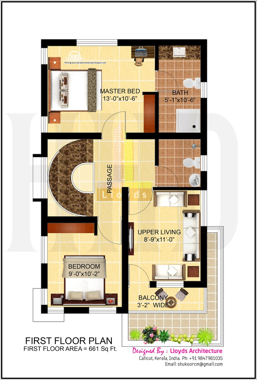 4 bedroom house plan in less than 3 cents kerala home for Kerala 3d home floor plans