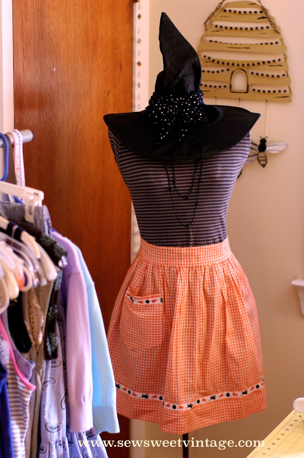 sewing, manaquin, halloween, witch hat, apron