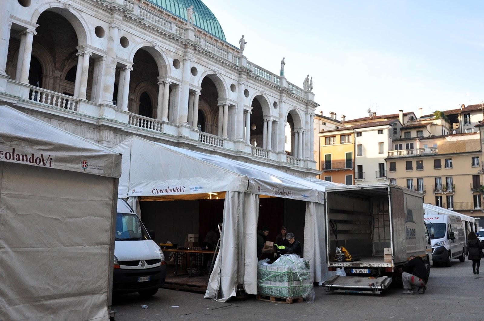 Getting ready, Chocolate Festival, Piazza dei Signori, Vicenza, Veneto, Italy