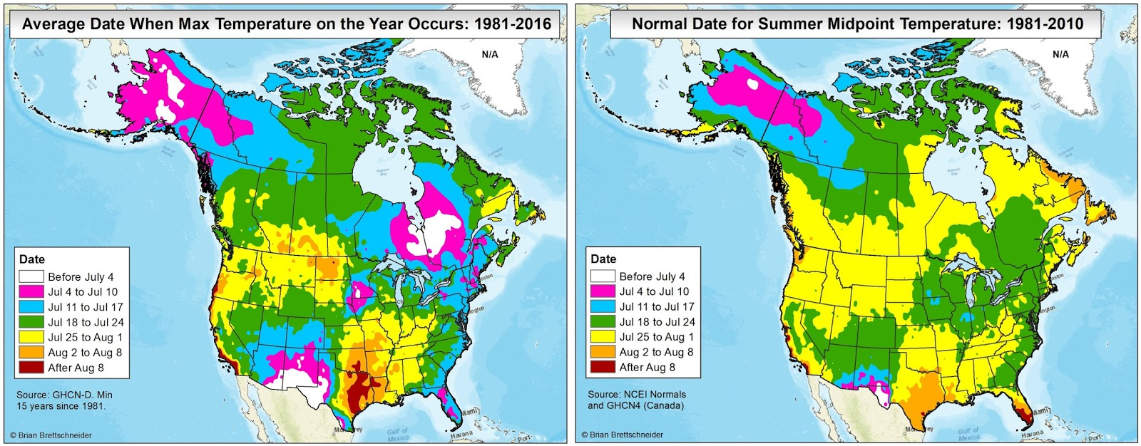Canada Seasonal Average Temperature Map Brian B's Climate Blog: Average Annual High Temperature vs