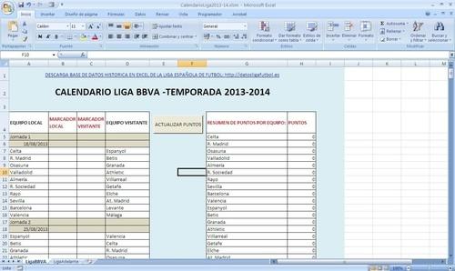 Calendario De La Liga Espanola De Futbol.Base De Datos De La Liga Espanola De Futbol Calendario Temporada