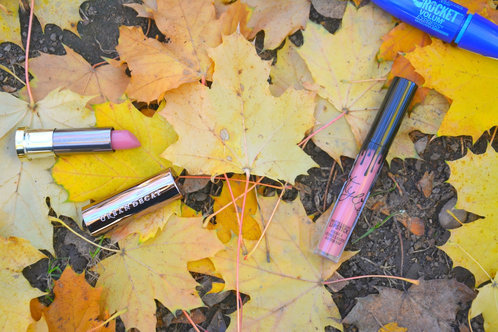 Urban Decay Vice Lipstick, Kylie Liquid Lipstick, Maybelline The Rocket Volum Express Mascara on Autumnal Leaves