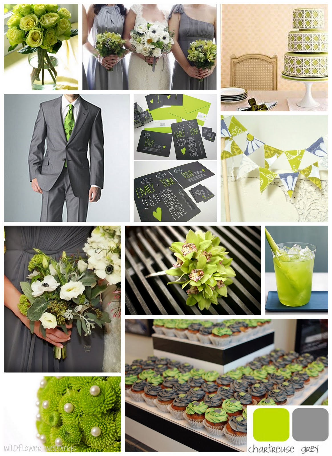 Gray And Green Bedroom Ideas: Chartreuse & Grey Wedding On Pinterest