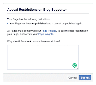 Appeal Restriction on Facebook