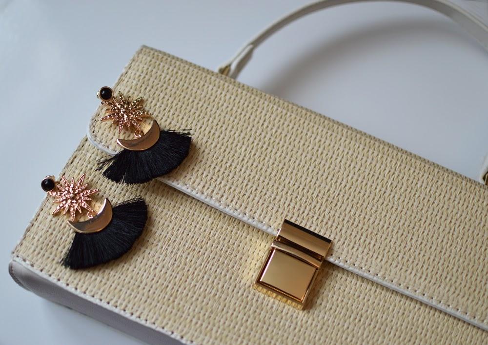 Rosegal Straw bag & Tassel earrings