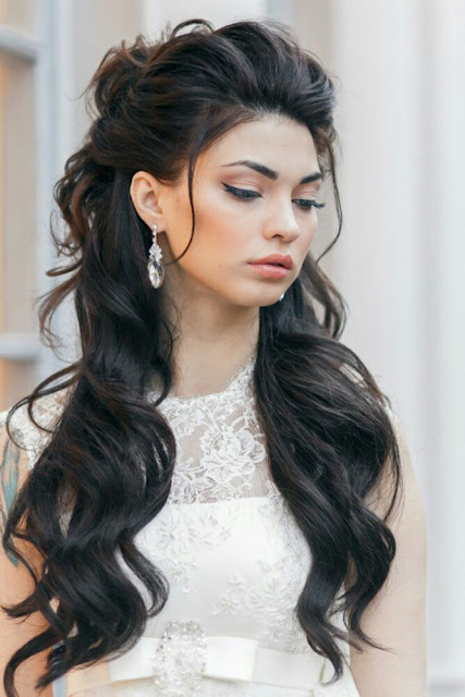 Half up and half down wedding  hairstyle