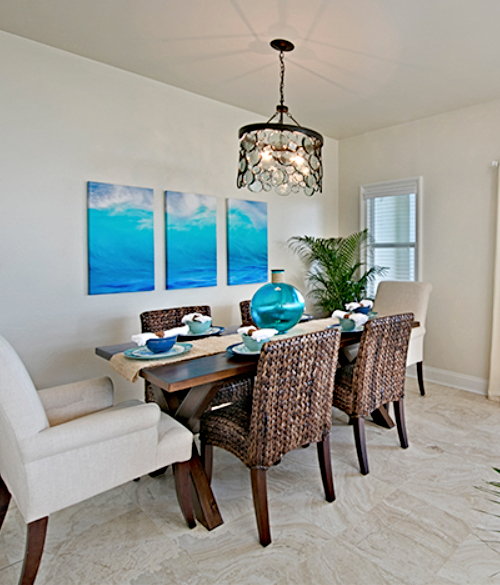Ocean Art Triptych Dining Room Design Idea