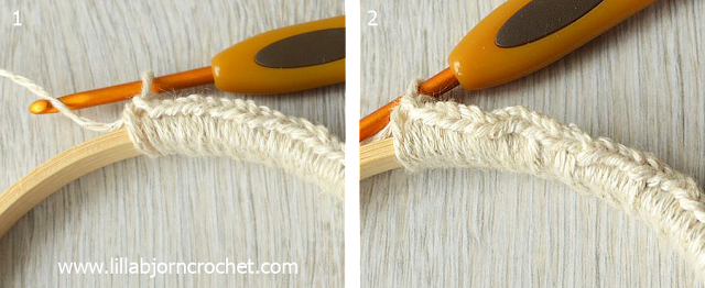 Crochet around embroidery hoop - tutorial by Lilla Bjorn Crochet