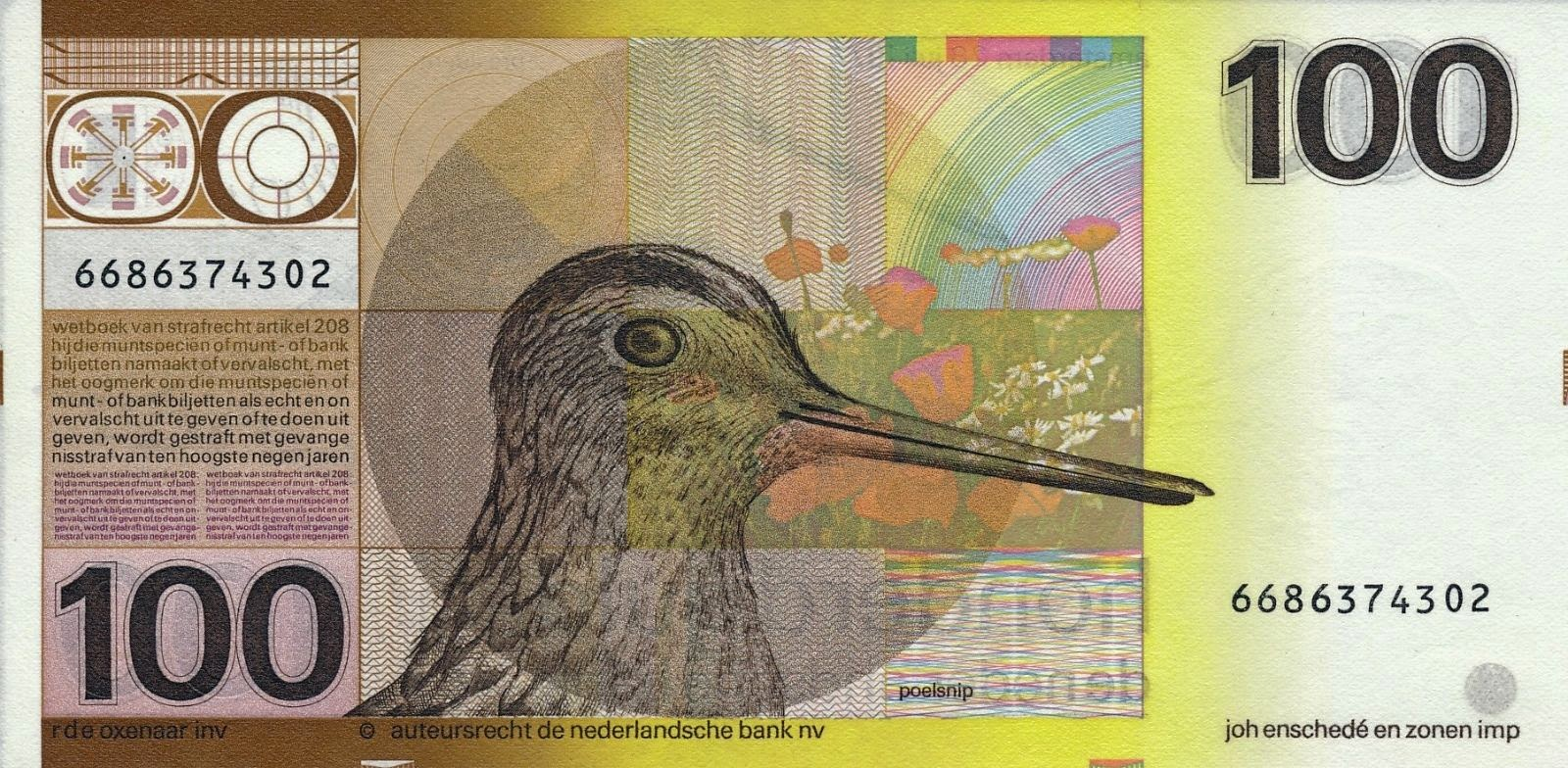 Dutch Guilder Banknotes 100 Gulden note 1977 Snipe